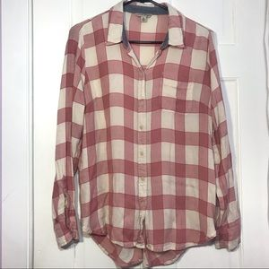 Lucky brand | Pink Plaid Long Sleeve Shirt